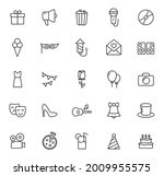 party outline vector icons...