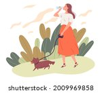 young woman walking her dog and ...   Shutterstock .eps vector #2009969858