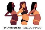 three pregnant women. realistic ... | Shutterstock .eps vector #2010044408