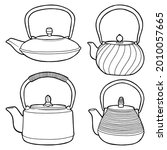 cast iron teapot. dishes for...   Shutterstock .eps vector #2010057665
