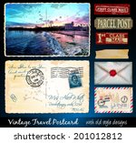 Santa Cruz Travel Vintage Postcard Design with antique look and distressed style. Includes a lot of paper elements and postage stamps.