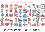 multi color love icons set in...