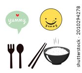 rice bowl  chopsticks  spoon ...   Shutterstock .eps vector #2010294278