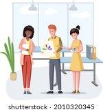 man hold paint palette choosing ...   Shutterstock .eps vector #2010320345