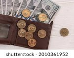 Leather Wallet With Us Dollar...