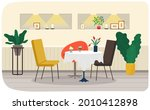 chairs near single table with...   Shutterstock .eps vector #2010412898