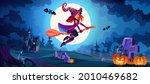 halloween night landscape with... | Shutterstock .eps vector #2010469682