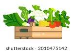fresh vegetables in wooden box. ... | Shutterstock .eps vector #2010475142
