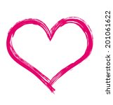 big calligraphy brush heart.... | Shutterstock .eps vector #201061622
