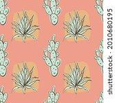 pastel simple doodle cacti...   Shutterstock .eps vector #2010680195