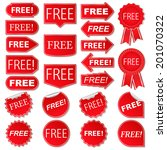 free labels  collection of red... | Shutterstock . vector #201070322