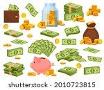 cartoon money bag and piles.... | Shutterstock .eps vector #2010723815