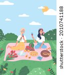 friends have picnic in park.... | Shutterstock .eps vector #2010741188