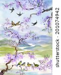 birds on cherry branch vector | Shutterstock .eps vector #201074942