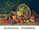 still life  vegetables  herbs... | Shutterstock . vector #201088436