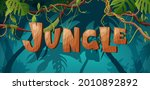 jungle hand lettering wooden...