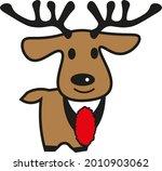 Cute Deer With Antlers Cartoon...