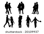 happy couple  silhouettes ... | Shutterstock .eps vector #20109937