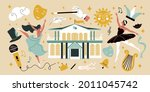 flat big set with two female... | Shutterstock .eps vector #2011045742
