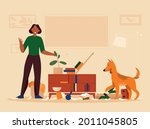 flat angry woman and her...   Shutterstock .eps vector #2011045805