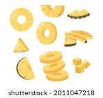 set pineapple round and... | Shutterstock .eps vector #2011047218