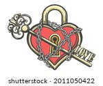 tattoo of heart shaped lock in... | Shutterstock .eps vector #2011050422