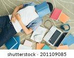 exhausted student fall asleep... | Shutterstock . vector #201109085