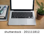 office desk labtop working on a ... | Shutterstock . vector #201111812