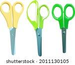 three pairs of large scissors...   Shutterstock .eps vector #2011130105
