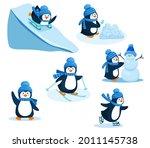 Activity In Winter. Penguin...