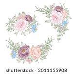 set of pink purple flower...   Shutterstock .eps vector #2011155908