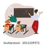 teacher explaining material to...   Shutterstock .eps vector #2011239572