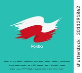 Poland flag vector. To remembering the independence day or nationalities event of Poland. Made with translation languages of other countries in the world to understand the country of Poland