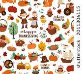 vector thanksgiving seamless...   Shutterstock .eps vector #2011306115