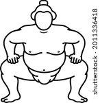 sumo fighter. vector outline...   Shutterstock .eps vector #2011336418
