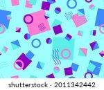 memphis seamless pattern.... | Shutterstock .eps vector #2011342442