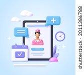 concept of online consultation... | Shutterstock .eps vector #2011386788