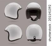 white motorbike classic helmet. ... | Shutterstock .eps vector #201141392