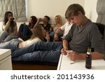 teenagers drinking and smoking | Shutterstock . vector #201143936