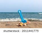 A Blue Child's Toy Plastic...