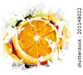 digital orange fruit | Shutterstock .eps vector #201148022