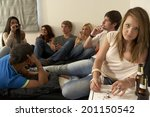 teenagers drinking and smoking | Shutterstock . vector #201150542