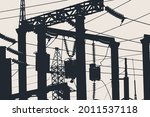 silhouette of a high voltage... | Shutterstock .eps vector #2011537118