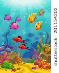 underwater world  vector... | Shutterstock .eps vector #201154202