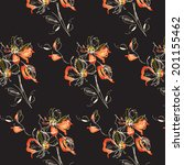 black flower pattern | Shutterstock .eps vector #201155462