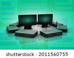 3d rendering computer network... | Shutterstock . vector #2011560755