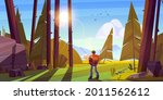 hiker man in forest with...   Shutterstock .eps vector #2011562612