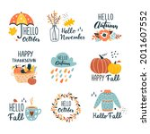 fall collection with... | Shutterstock .eps vector #2011607552