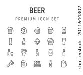 premium pack of beer line icons....