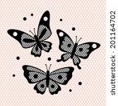 set of vintage lace butterflies ... | Shutterstock .eps vector #201164702